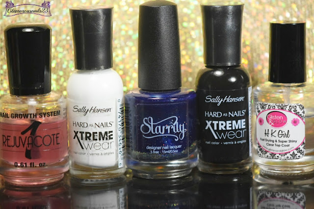 Duri Rejuvacote, Sally Hansen Xtreme Wear White On, Starrily Gravity, Sally Hansen Xtreme Wear Black Out, Glisten & Glow HK Girl Fast Drying Top Coat