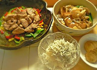 夕食の献立|小松菜あんかけ煮浸し ジャークチキン シラスおろしとお新香