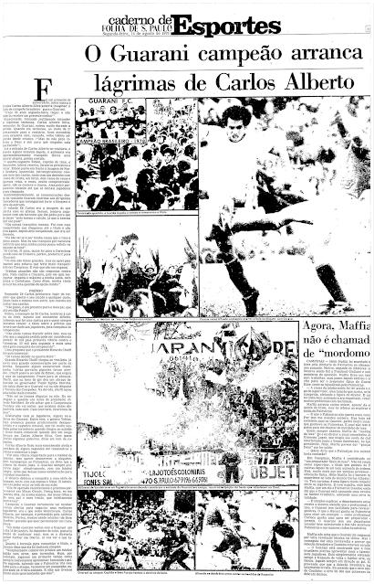 Folha de São Paulo Guarani Campeão Brasileiro 1978