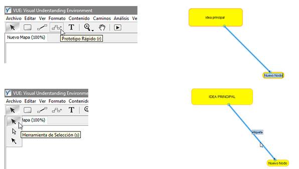 Añadiendo un nodo hijo y linea de enlace en el programa VUE: Visual Understanding Enviroment