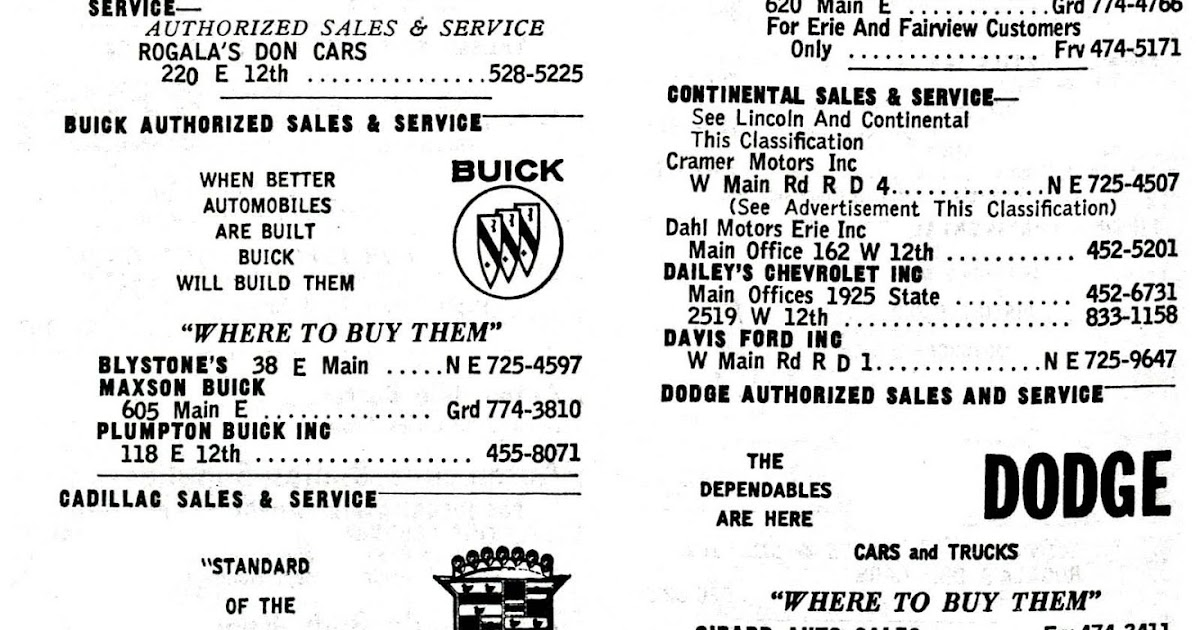 New Motors Erie Pa >> Old Time Erie: New Car Dealers in Erie, PA 1965 pt.1