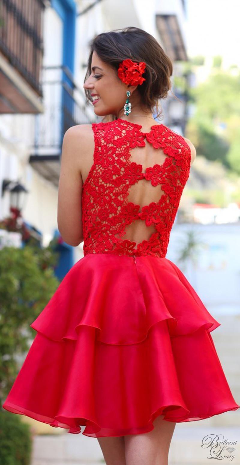 Brilliant Luxury ♦ Silvia Navarro red Magnolia embroidered dress