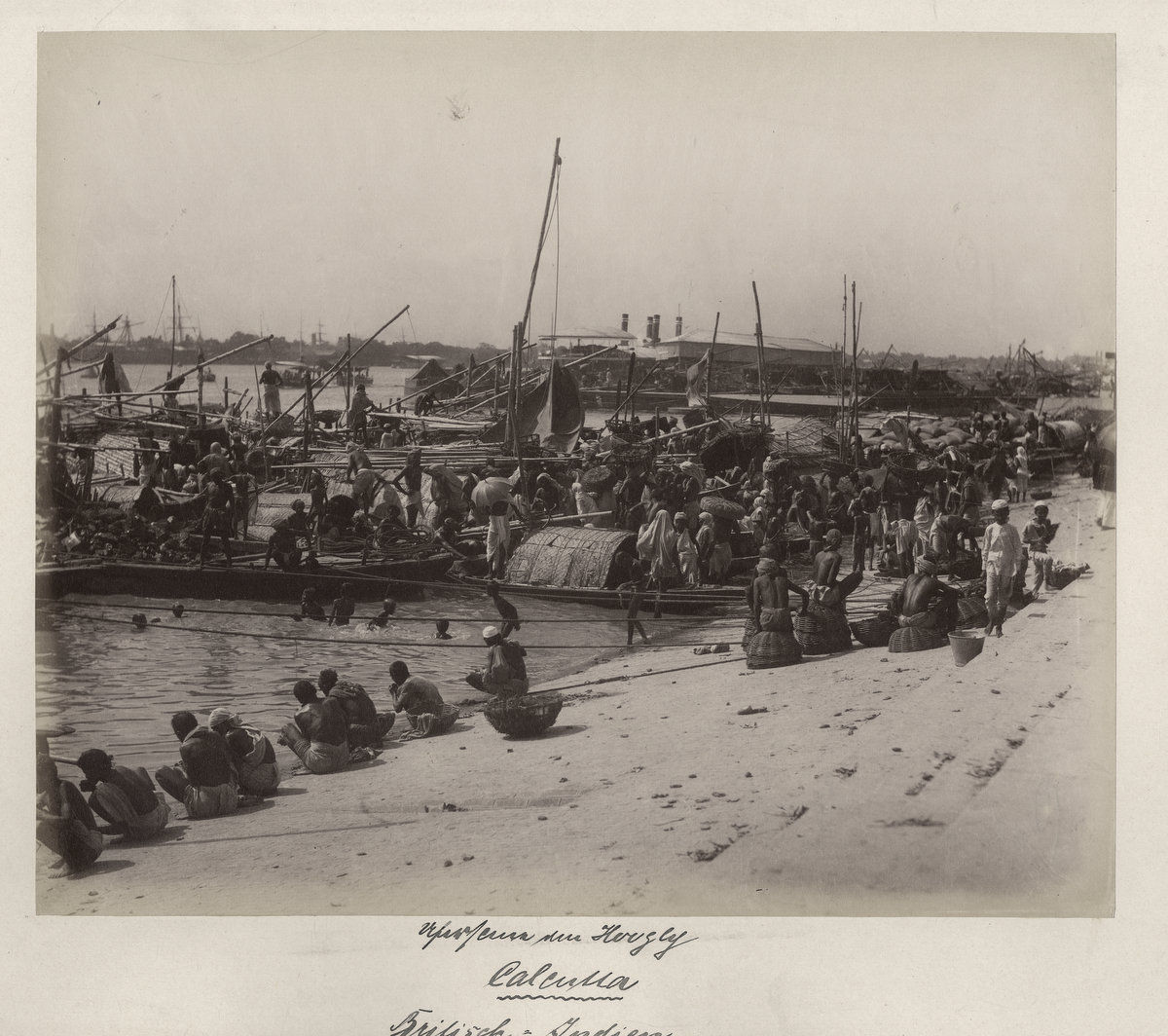 Boats on the Hooghly River - Calcutta (Kolkata) c1880's