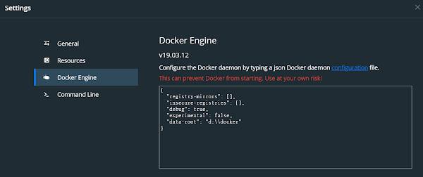 docker disk setting