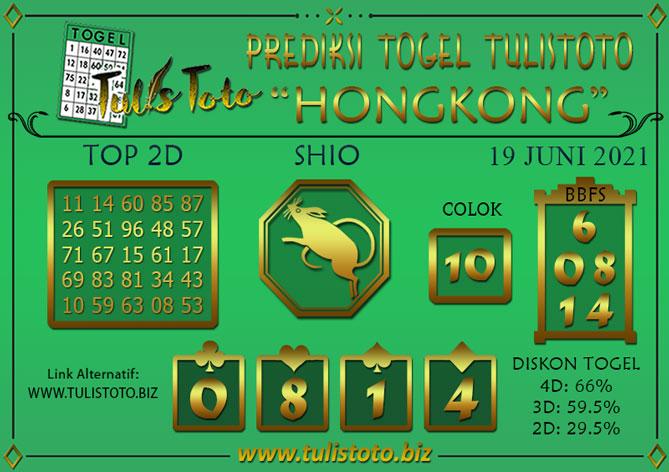 Prediksi Togel HONGKONG TULISTOTO 19 JUNI 2021