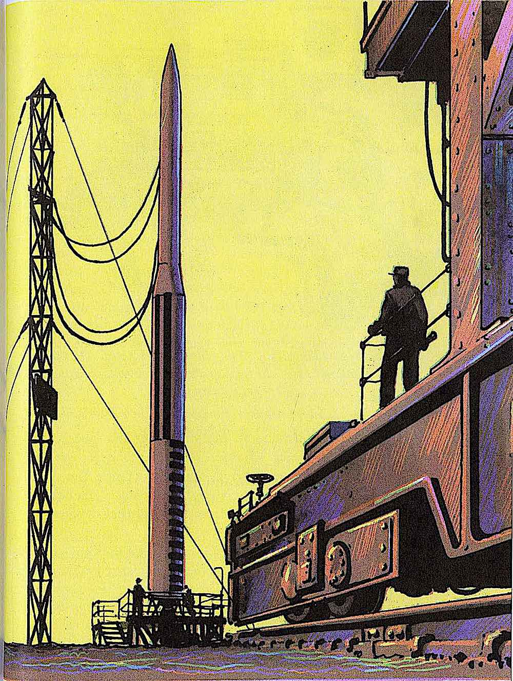a Jack Coggins illustration of a rocket on launch pad with a yellow sky