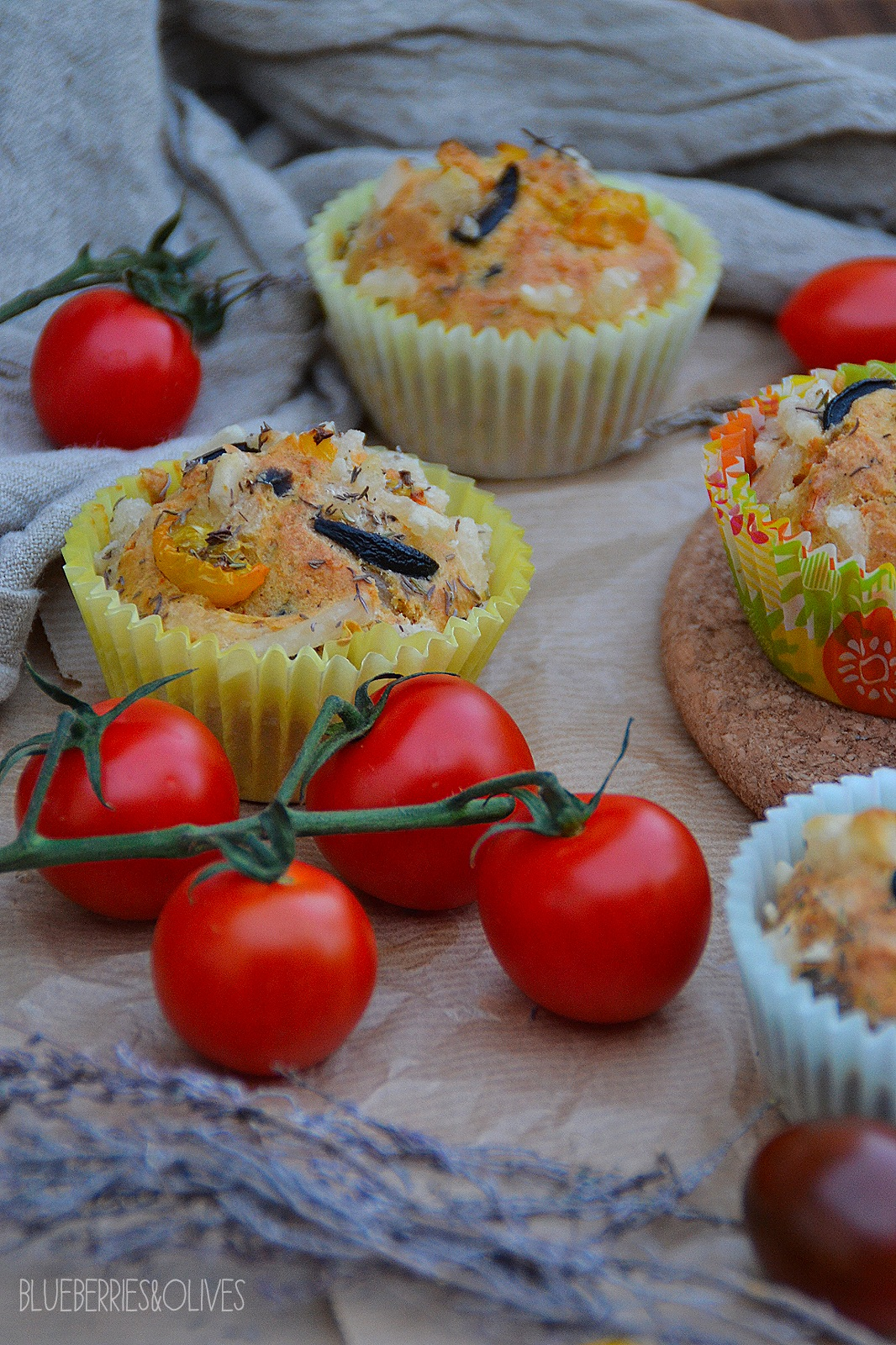 SAVOURY MUFFINS WITH OLIVES, TOMATO & AROMATIC HERBS