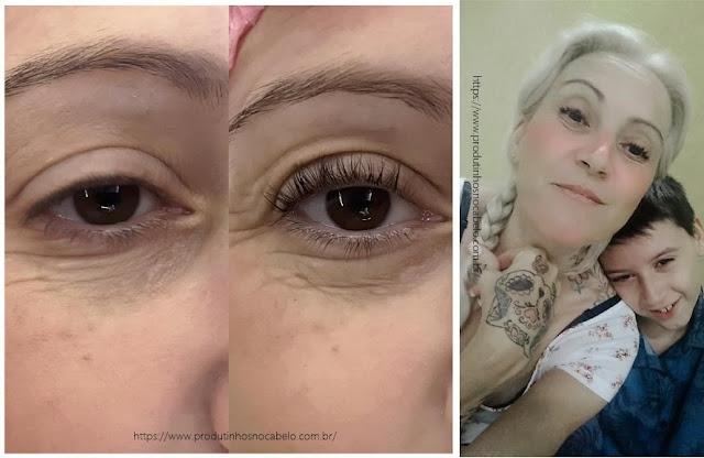 antes e depois permanente de cilios