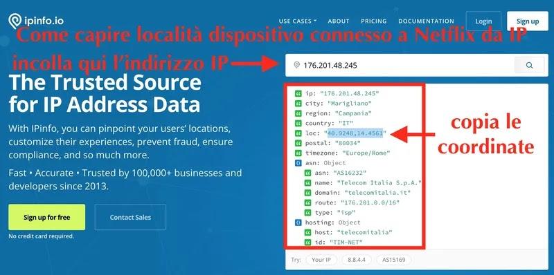 località indirizzo ip dispositivo collegato a netflx