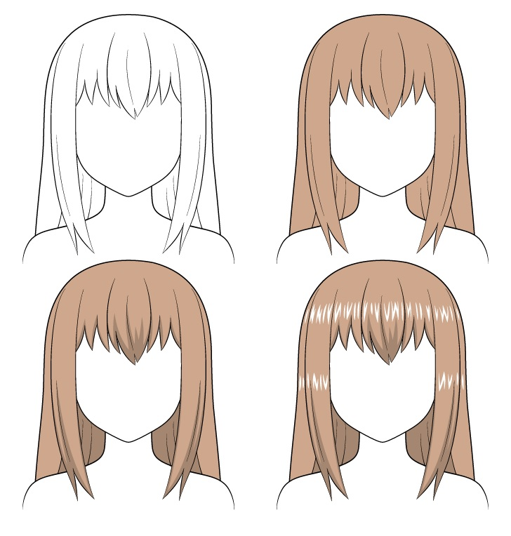 Shading anime rambut panjang selangkah demi selangkah