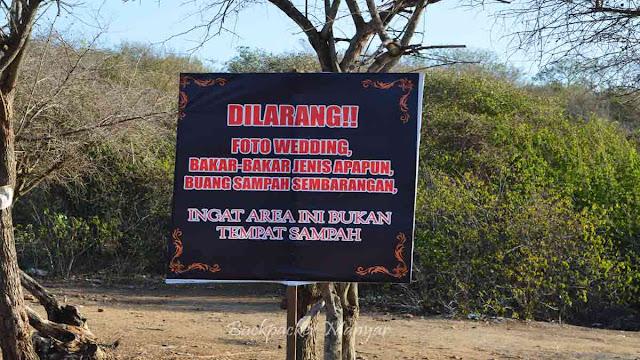 papan peringatan Pantai Tegal Wangi Bali