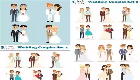 صور فيكتور| مجموعة  صور زفاف وعرائس كرتون فيكتور لتصميمات دعوات الافراح وبنرات الكرتون,psd,تصميمات .زفاف ,خلفيات جديدة,تصميم كارتون لصور الزفاف