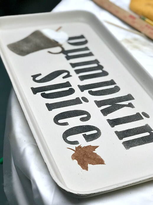 Vintage tray with Pumpkin Spice stencil