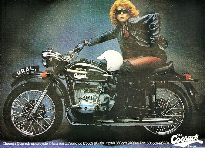 1970s Cossack UK Print Advert. During the '70s the Cossack brand was a sort of catch-all for Soviet motorcycles sold in the west including Ural, Dnepr, Voskhod and Izh.