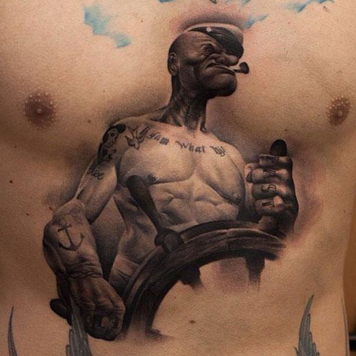 popeye tattoo, Popeye sailor tattoo