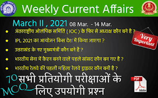 Weekly Current Affairs ( March II , 2021 )