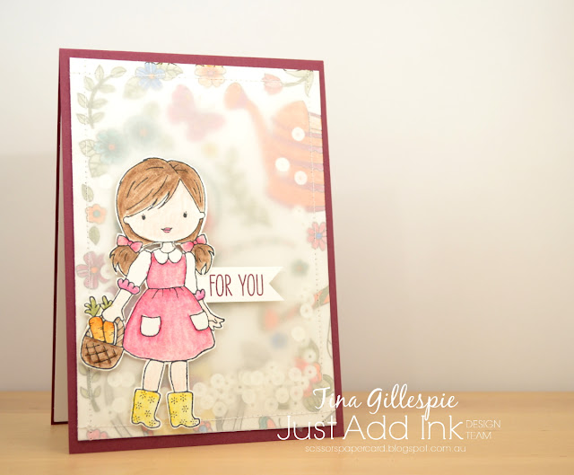 scissorspapercard, Stampin' Up!, Just Add Ink, Just Add Colour SDSP, Garden Girl, Jar Of Love, Soft Sayings, Watercolour Pencils, Shaker Card