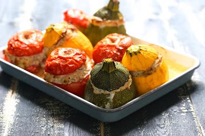 tomates , courgettes , farcies, jambon , veau , parmesan