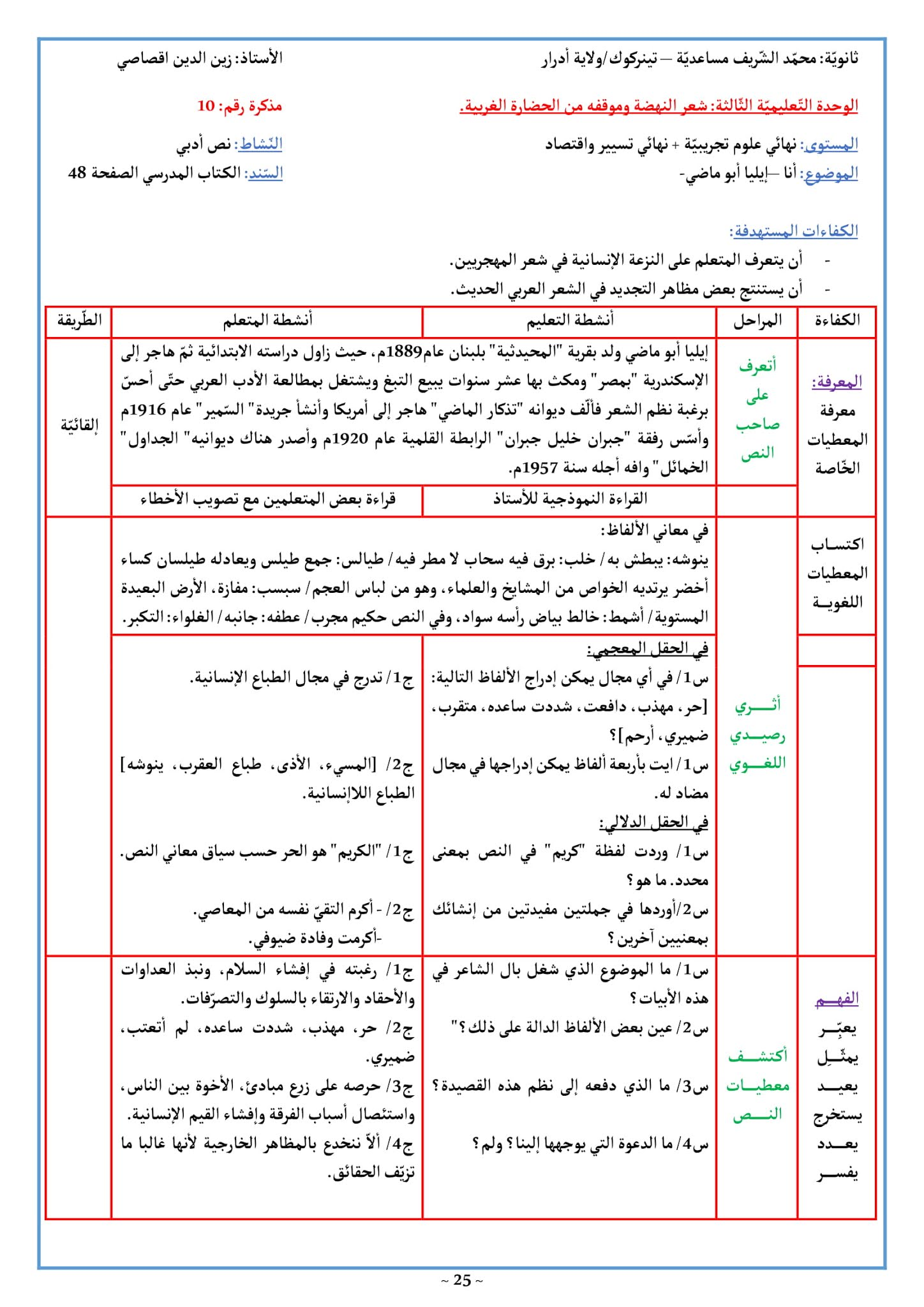 تحضير قصيدة أنا إيليا أبو ماضي 3 ثانوي علمي صفحة 48
