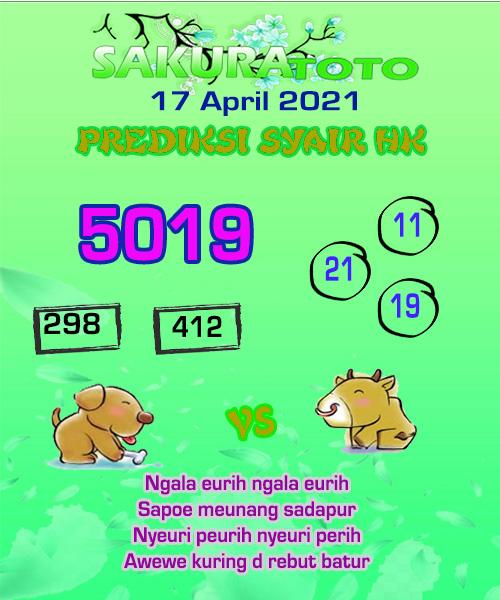 Prediksi Togel Sakuratoto Hongkong Sabtu 17 April 2021