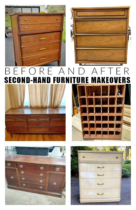 before and after second-hand furniture makeovers