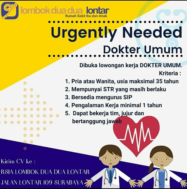 Loker Dokter RSIA Lombok Dua Dua Lontar Surabaya