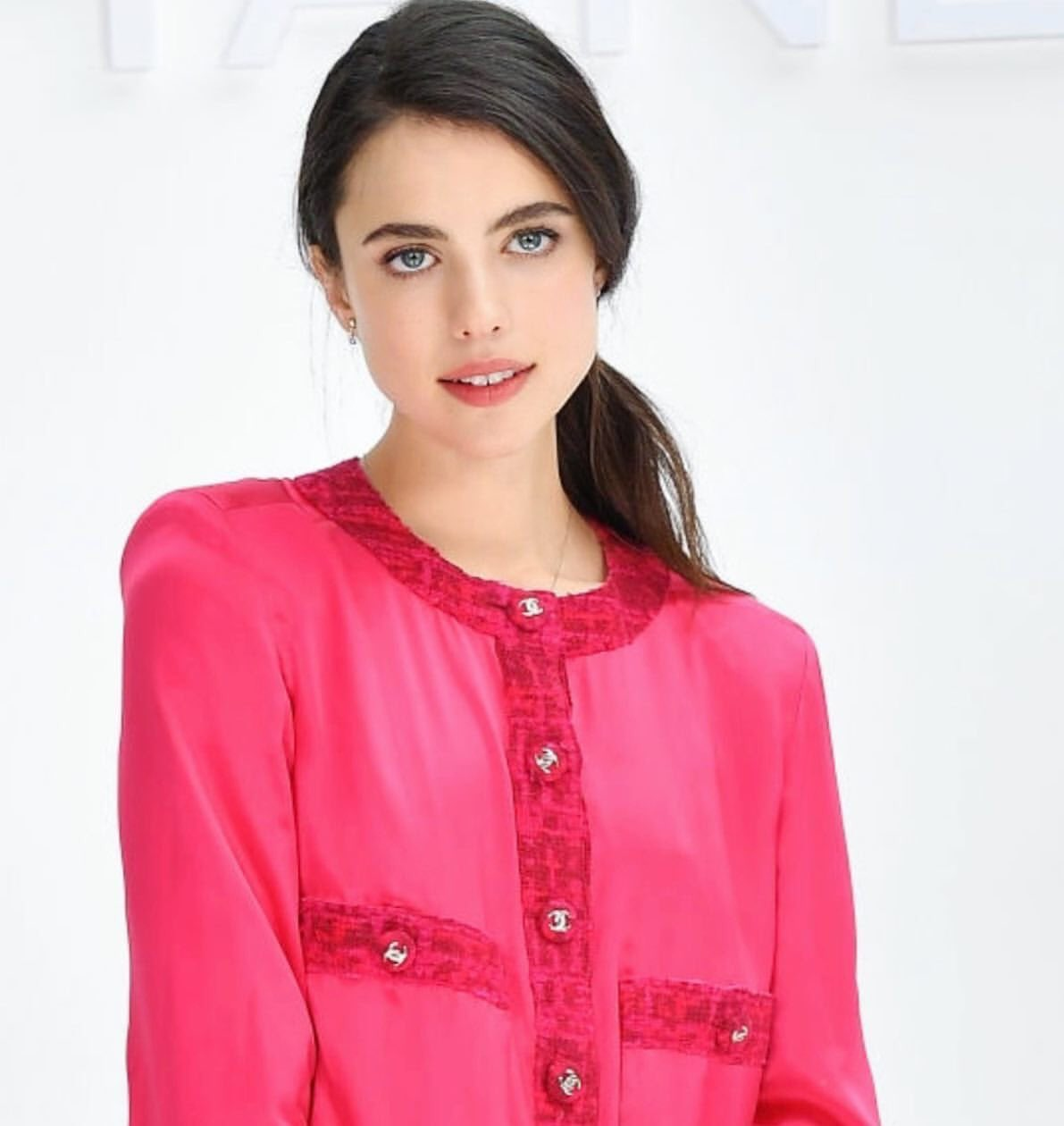 Margaret Qualley sizzles in hot pink at the Chanel Fall/Winter 2020 Paris Fashion Week Show