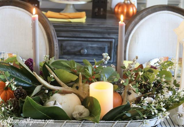 antlers, pumpkins, tobacco basket centerpiece