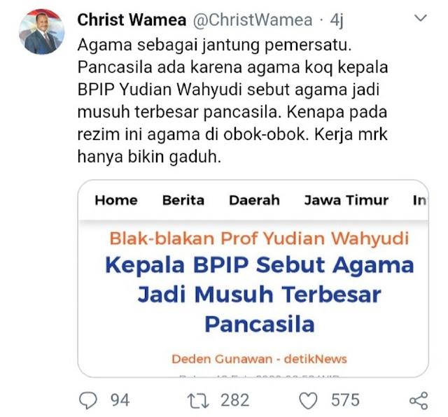Semprot Kepala BPIP, Tokoh Kristen Papua : Agama Diobok-Obok, Bikin Gaduh