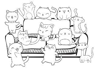 דף צביעה חתולים לבוגרים