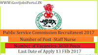 Public Service Commission Recruitment 2017 for Staff Nurse Post