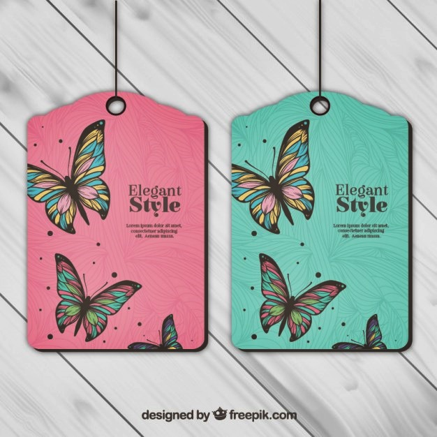 Butterfly Hang Tag Template Mockup Ilsutrator