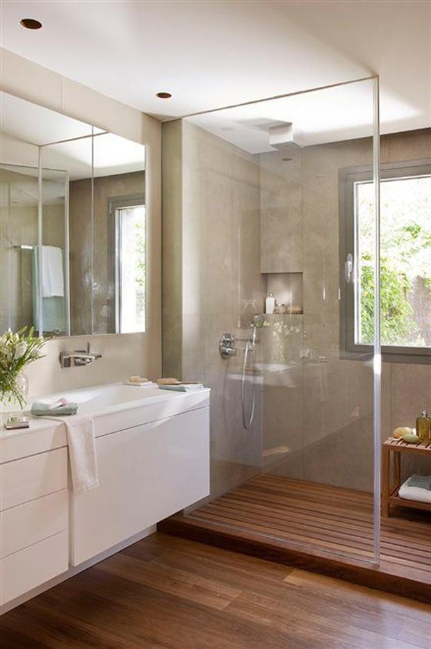 10 banheiros com porcelanato cimento queimado jeito de for Techos para banos pequenos