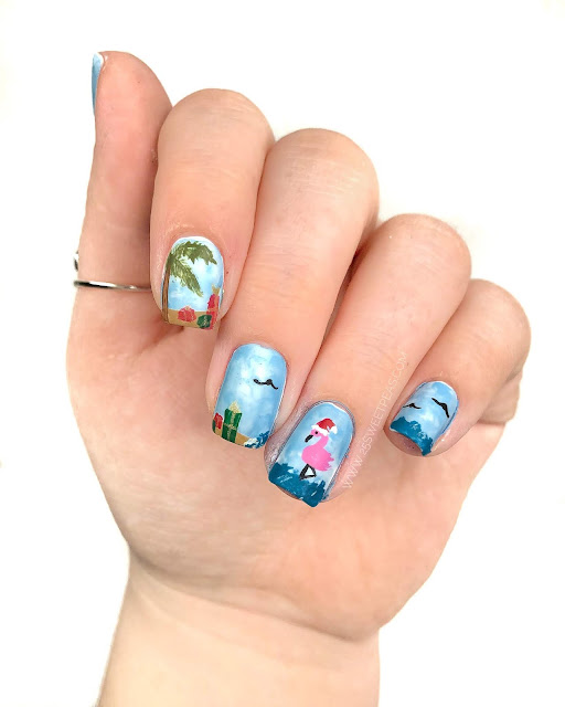 Beachy Christmas Nail Art