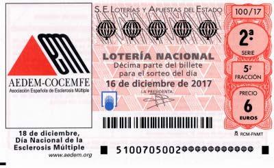 decimos de lotería nacional dedicados al día de la esclerosis múltiple