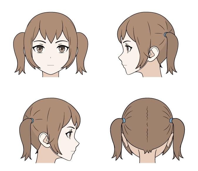 Menggambar kuncir anime tampilan depan, belakang dan samping