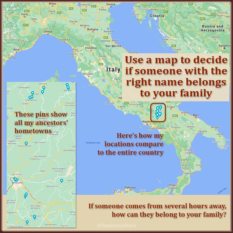 Carefully consider the location when reviewing a promising family tree search result.