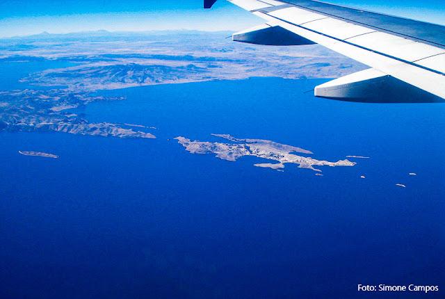 Vista aérea da Ilha do Sol, Lago Titicaca