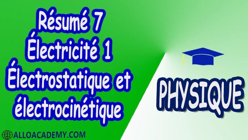 Résumé 7 Électricité 1 ( Électrostatique et électrocinétique ) pdf