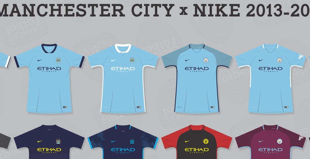 ed17fcbae Nike became Manchester City's kit supplier in 2013, taking over of former  subsidiary company Umbro. Nike produced 18 different Manchester City's kits  in ...