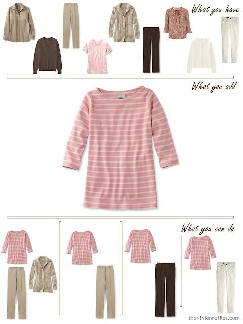 add a striped sailor top to a brown, khaki and pink wardrobe