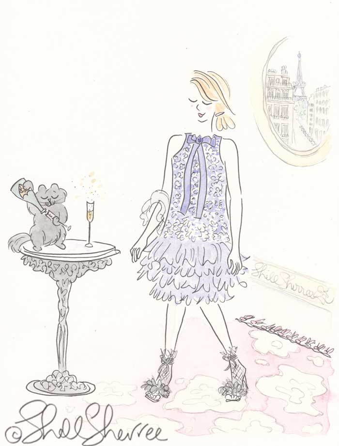 Fashion and Fluffballs illustration: Ruffled Champagne Cocktails in Paris © Shell Sherree