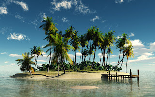 Tropical island with dock