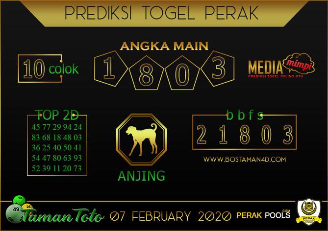 Prediksi Togel PERAK TAMAN TOTO 07 FEBRUARY 2020