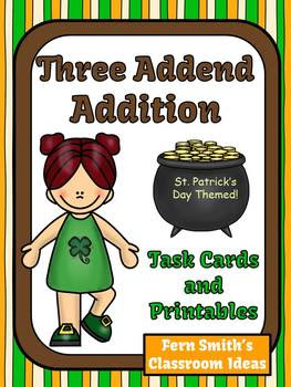 St. Patrick's Day Task Cards Three Addend Addition