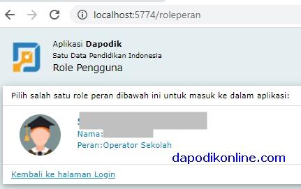Kunjungi http://localhost:5774/ dan lakukan login menggunakan akun dapodik peran Operator Sekolah
