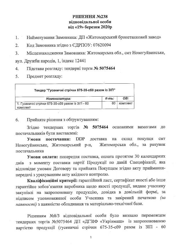 Укрінмаш не поставить ЖБТЗ гусениці для БМП на 27 млн