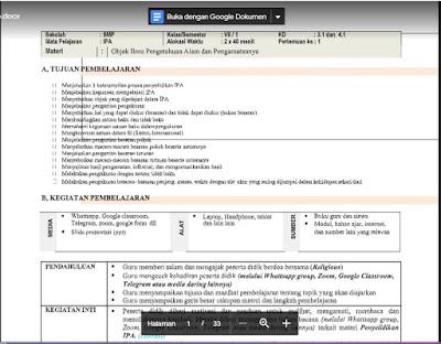 RPP Daring Ilmu Pengetahuan Alam (IPA) Kelas 7 Semester 1/Ganjil .docx