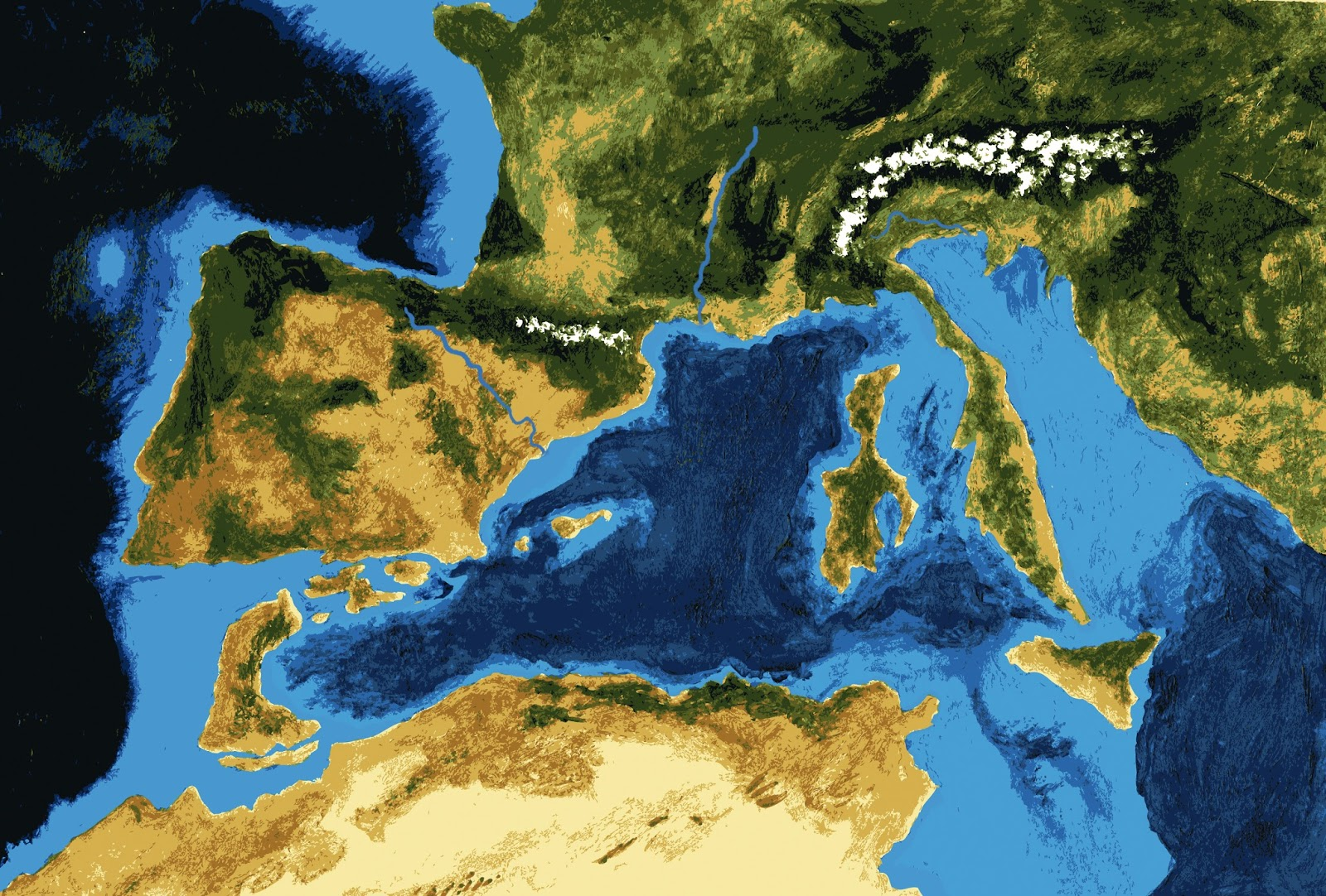 Messinian salinity crisis & Zanclean Flood image series (6.5 million years ago)