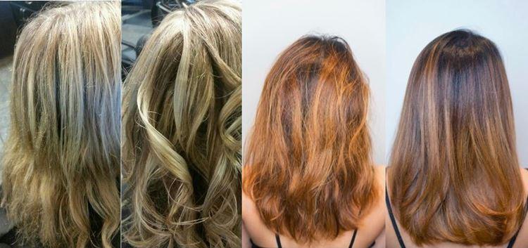 Hidratação nos cabelos antes e depois